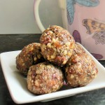 Date, cranberry and cashew energy snacks.