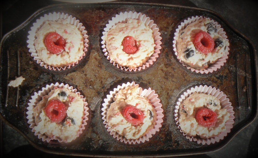 Vegan Raspberry & Blueberry muffins are great for lunchboxes, lower in refined sugar and egg free thanks to fresh grated apple & ginger.