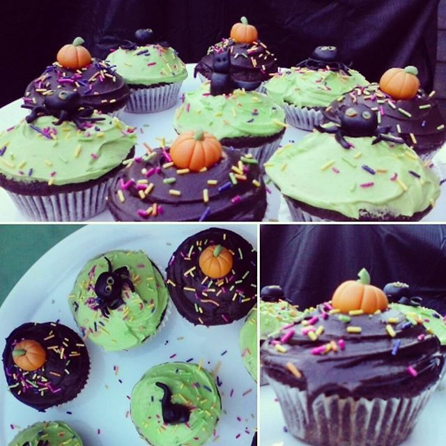 Vegan Chocolate Cherry Cupcakes with cute little fondant pumpkins are perfect for any Halloween celebration! Rice dark sponge with a subtle cherry hit. Get your halloween chocolate fix without the dairy or eggs!