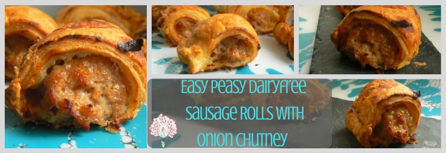 Easy Peasy Dairyfree Pop-in Sausage Rolls with Onion Chutney