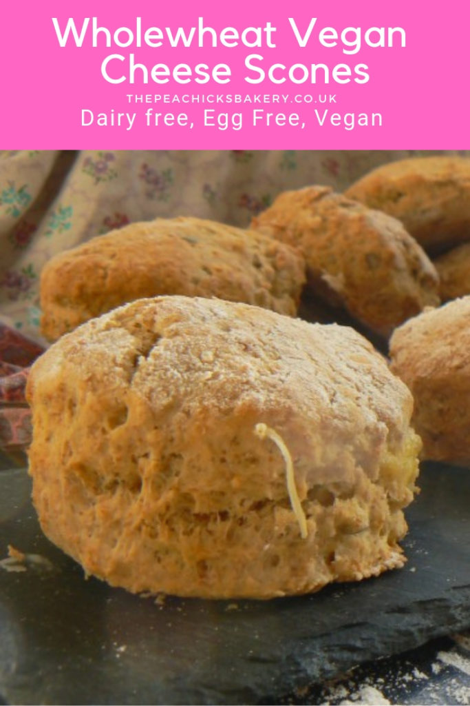 Soft and fluffy, savoury Wholewheat Vegan Cheese Scones. Easy to make and great for Afternoon Tea, lunchboxes or just dunking in a bowl of warming soup! Perfect scones without the dairy and made with wholewheat goodness!