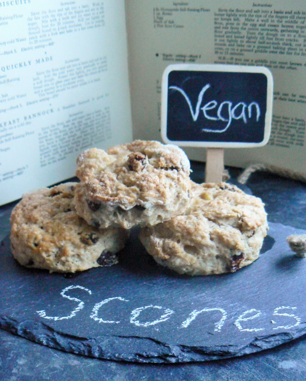 Vegan Apple & Cinnamon Scones packed with hot cross bun spices, just without the oranges AND much quicker to make. If you are quite organised they can be ingredients to plate in less than 30minutes! Perfect for an Easter Afternoon Tea. Dairy Free & Egg Free