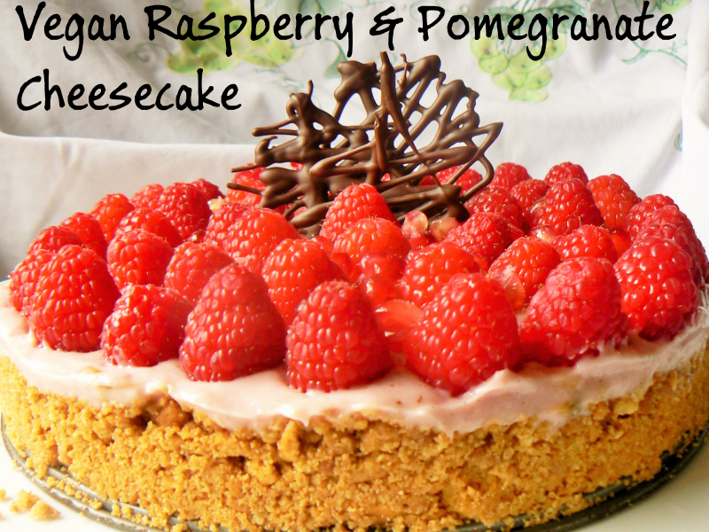 Vegan Raspberry & Pomegranate Cheesecake (Soyfree)