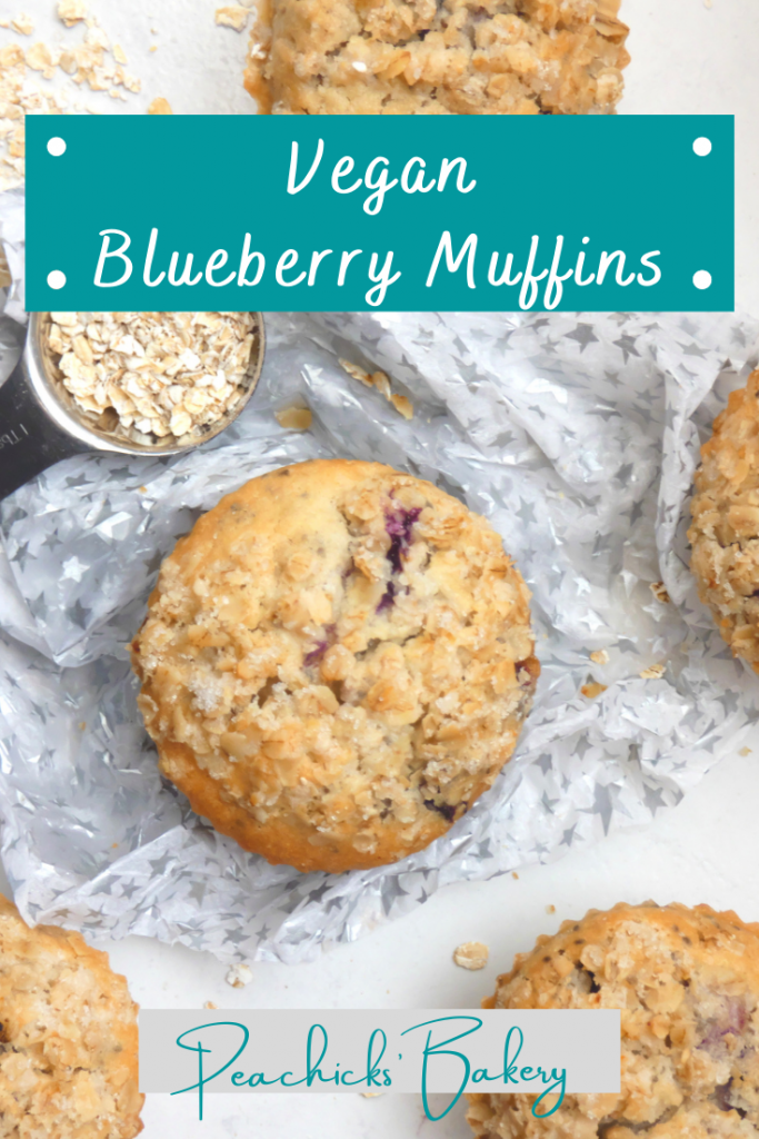 Easy Vegan Blueberry Muffins with a brown sugar crumble topping. Perfect grab & go breakfast or speedy dairy & egg free lunchbox filler!  Soft, fluffy muffins stuffed full of jammy pockets of blueberry.  Dairy, Egg, Soya & Nut free with Gluten Free options.