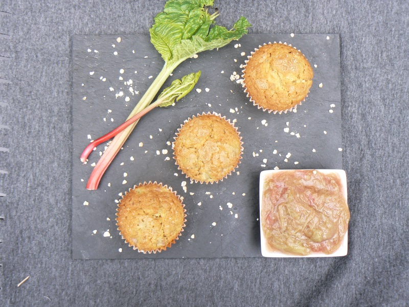 Vegan Rhubarb Muffins make a great grab & go dairy free breakfast or afternoon treat. They are light, fluffy and packed full of oats and seeds for an extra nutritious snack. Make several batches and freeze to use up those gorgeous gluts of garden rhubarb!