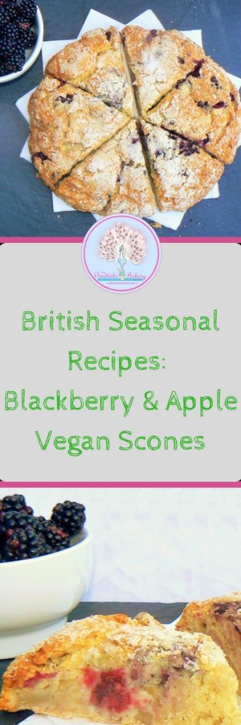 Apple & Blackberry Vegan Scones perfect for #NationalAllotmentWeek #NationalAfternoonTeaWeek!You've heard of self-saucing puddings well these are scones make their own jam! Perfect for using up windfall apples and beautiful blackberries!