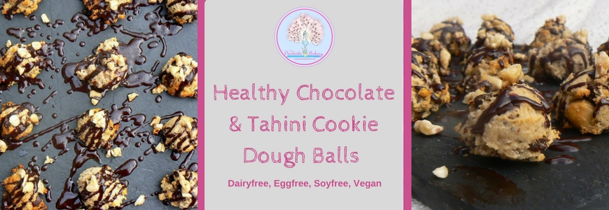 Healthy Chocolate & Tahini Cookie Dough Balls (Vegan, glutenfree)