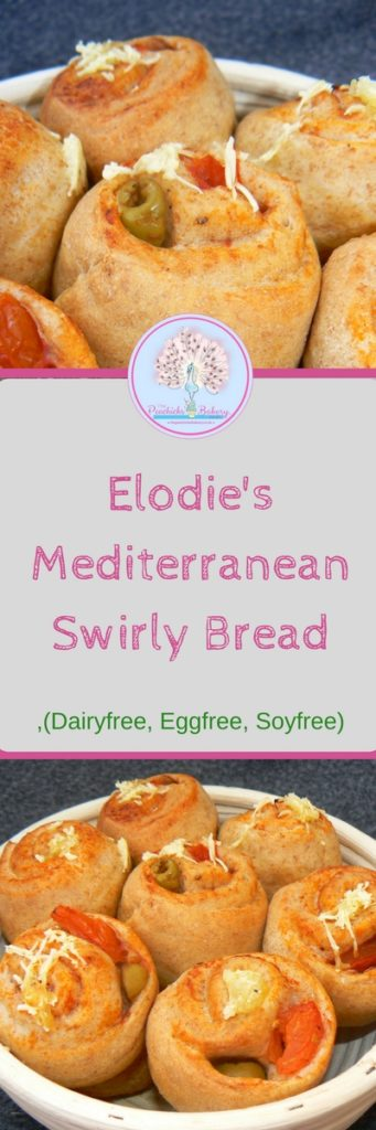Delicious Dairyfree, Soyfree Mediterranean Swirly Bread rolls, filled with garlic, tomatoes and olives! An easy, yummy staple of Elodie's lunchboxes!