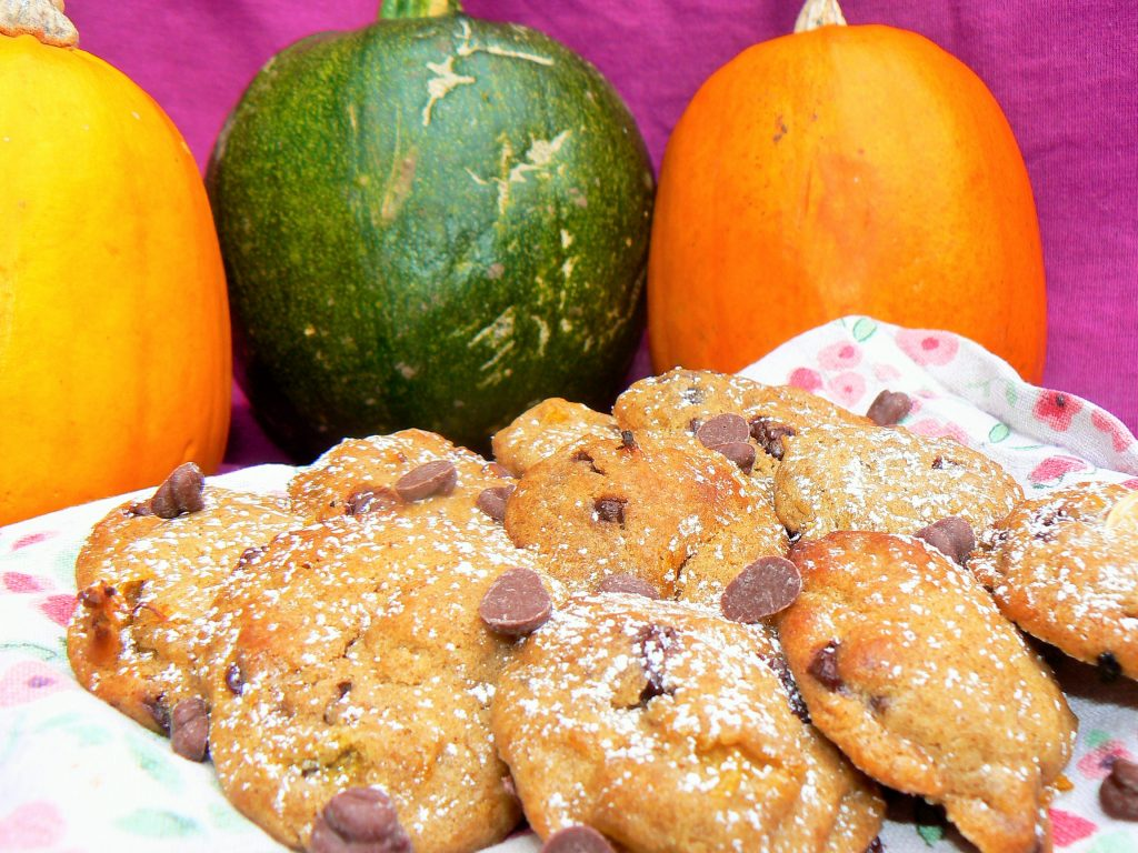 Vegan Chocolate Chip Pumpkin Cookies with Moo Free Baking Drops perfect for using up the leftover Halloween pumpkin carving flesh!