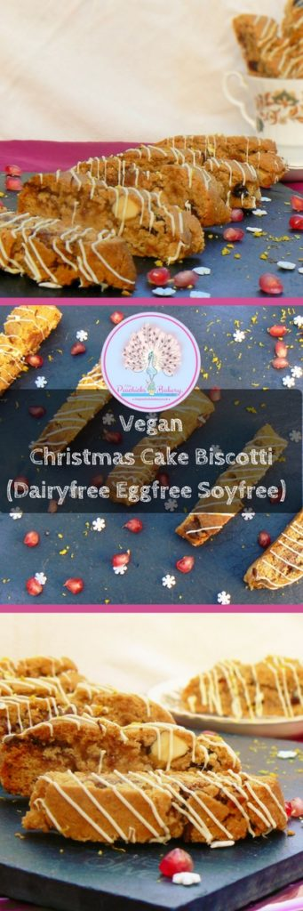 My Vegan Christmas Cake Biscotti Recipe, (Dairyfree Eggfree Soyfree) can be made in advance and kept in pretty cellophane bags ready to hand out (also makes lovely goodie bags!) These have all the flavours of Christmas Cake in a yummy, dunkable biscotti filled with cranberries, dark chocolate chunks and brazil nuts then topped with white chocolate drizzle and grated lemon zest!