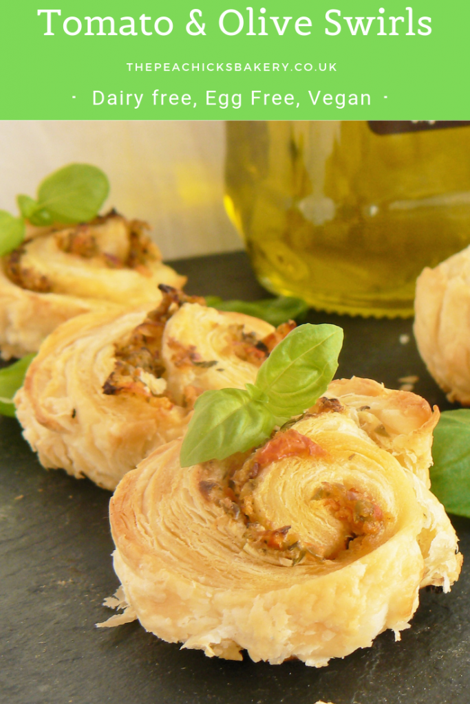 Vegan Olive Tomato & Basil Swirls are so easy to make. Just spread the filling on the pastry, roll, bake & slice! Simple! Perfect for dairy free picnics, afternoon tea or for allergy & vegan friendly canapes for a party! The vegan cheese is optional, it acts like a seasoning, so if you leave it out you may need to add a little salt to the olive mixture. Just substitute the pastry for gluten free to make suitable for coeliacs!