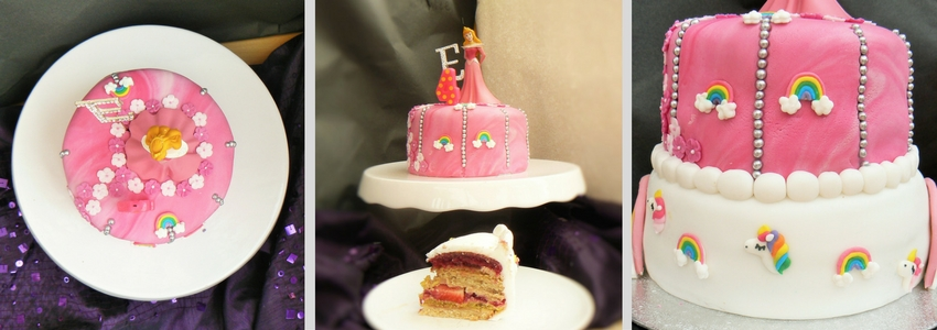 Sleeping Beauty Birthday Cake - An Easy Layered Vegan Angel Cake