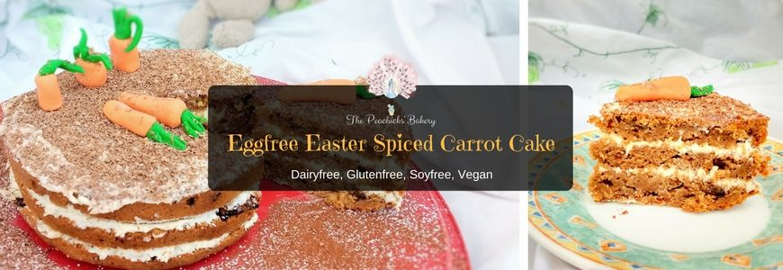 Eggfree Easter Spiced Carrot Cake, filled with a vegan vanilla buttercream. Complete with a cute fondant carrot garden it is the perfect centre piece to any Easter celebration!