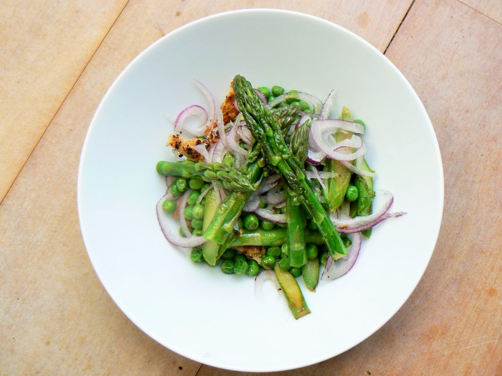 Asparagus & Pea Spring Salad with Vegan Cheesy Toasts, an elegant lunch or easy to prepare starter for any occasion! Delicate Asparagus spears, fresh peas and crisp red onion are treated to a light drizzle of oil before beingpiled high on a slice of crunchy vegan cheesy toast! Dairy free, Gluten free & Suitable for vegans so a great option for catering for all dietary requests. Delicious and all ready in the time it takes to make a slice of cheese on toast!
