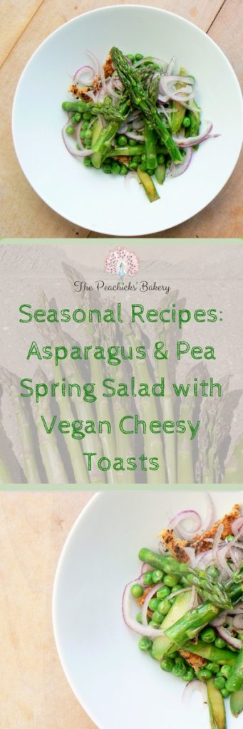 British Seasonal Recipes: Asparagus & Pea Spring Salad with Vegan Cheesy Toasts, an elegant lunch or easy to prepare starter for any occasion! Delicate Asparagus spears, fresh peas and crisp red onion are treated to a light drizzle of oil before being piled high on a slice of crunchy vegan cheesy toast! Delicious and all ready in the time it takes to make a slice of cheese on toast!