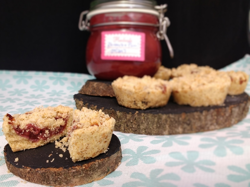 Looking for a little afternoon treat with your tea or coffee?  Then Millie's Jammy Shortbread Crumble Cups (Dairyfree, Vegan) with rich shortbread and jammy layer are perfect! And handily were a great way to use up the rhubarb & plum jam I had no jar left for!  They are also a great easy activity to keep the little people entertained in the great British Summer Weather we are having!!