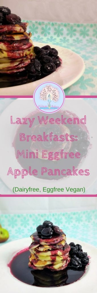 Mini Egg Free Apple Ring Pancakes served with a puddle of sticky dark cherry syrup are a great lazy weekend breakfast! Dairy Free, gluten free & vegan too!