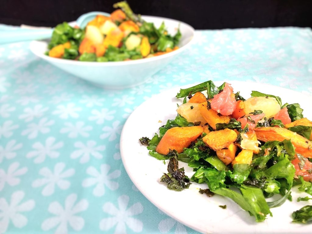 This delicious, warm Roasted Squash, Kale & Grapefruit Salad is a riot of beautiful Autumn colours & flavours! Glutenfree, Vegan and its healthy too! Finely shredded kale, sweet roasted squash, sweet potato & carrots and bursts of sour grapefruit all topped off with crispy kale chips... Who said salads were just for Summer?!