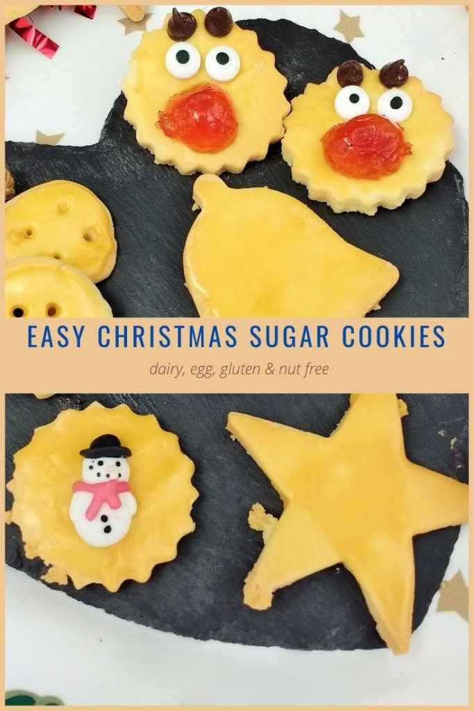 These lovely little Christmas Sugar Cookies are gluten free & nut free and suitable for vegans! Make these simple biscuits with ground ginger, vanilla bean paste or simply leave plain. The soft dough is easy enough for little hands to handle and can be re-rolled as many times as you like OR kept in the fridge for a week for all those last minute festive get togethers!