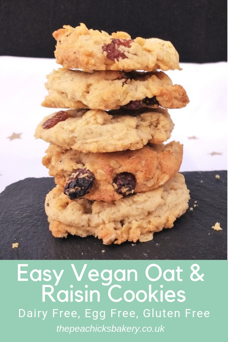 These Easy Vegan Oat & Raisin Cookies are crisp, chewy and filled with soft sultanas AND they are really easy to make too!   With a subtle hint of cinnamon they are sure to become a firm favourite in any house. Perfect dairy free after school treat.