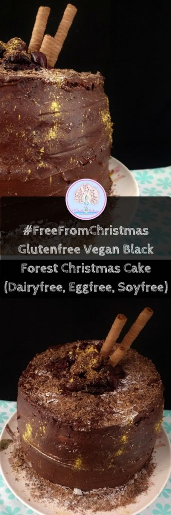 Gluten Free & Vegan Black Forest Cake, a retro twist on a Christmas Classic. Chocolate sponge, soaked in a dark, cherry syrup, filled with creamy vanilla buttercream and covered with a rich chocolate fudge frosting. Makes one very large showstopper or 12 mini cakes that make perfect Festive Gifts!
