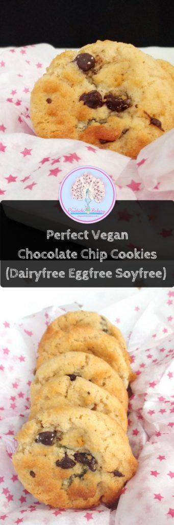 ThesePerfect Vegan Chocolate Chip Cookies (Dairyfree Eggfree Soyfree) are just that - perfect! It is the only cookie recipe you will ever need, crisp on the outside & chewy on the inside AND really easy to make.