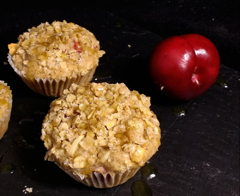 My Wholegrain Plum Crumble Breakfast Muffins are the perfect make ahead solution for a grab & go breakfast.  Soft wholegrain & #glutenfree muffins with an oaty crumble topping and filled with bursts of beautiful colour and sweetness from the plums.  They are #dairyfree, #eggfree and suitable for #vegans too! Full recipe on @Peachicksbakery