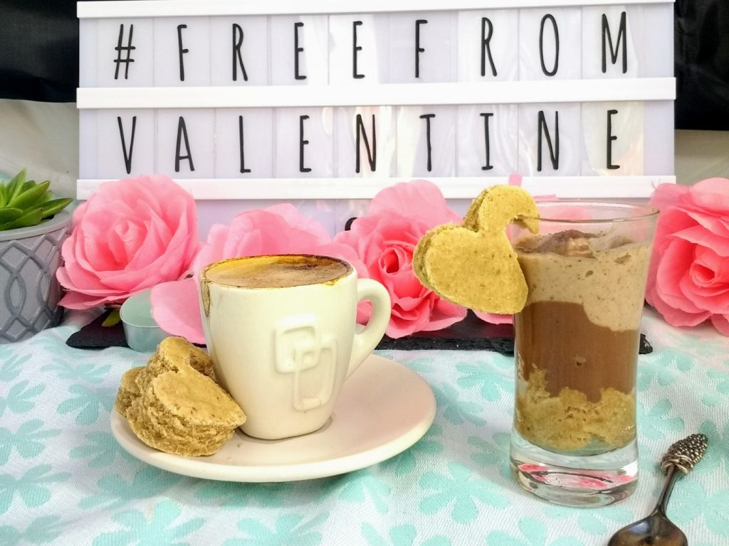 My contribution to #FreeFromValentine is this Creamy Vegan TiramisuDessert. Espresso soaked sponge topped with rich, dark chocolate ganache and a light, cocoa infused cream. Packed full of the traditional flavours you want minus the allergens you don't! (#Top14free #Dairyfree, #Eggfree, #Glutenfree & #Soyfree)