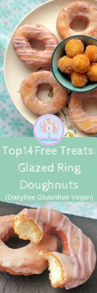 Fried or Baked these FreeFrom Glazed Ring Doughnuts are just as delicious. A soft chewy crust hides a delicate fluffy dough inside, all wrapped up in a sweet, crispy shell of vanilla glaze.  And being completely freefrom as well as suitable for vegans they are one treat everyone can indulge in! @Peachicksbakery #dairyfree #eggfree #glutenfree #soyfree #Top14free #vegan