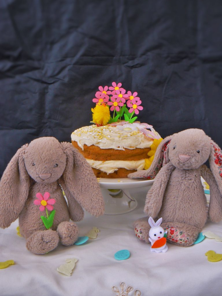 Enjoy a #FreeFromEaster with my Easy Decorated Glutenfree Easter Cake (Top14free). Its a great activity for the kids that makes a lovely gift or Easter Sunday Afternoon Tea! Lovely spicy soft sponge, packed with juicy sultanas, layered with vegan cream cheese & topped with cute mini decorations! Yum!