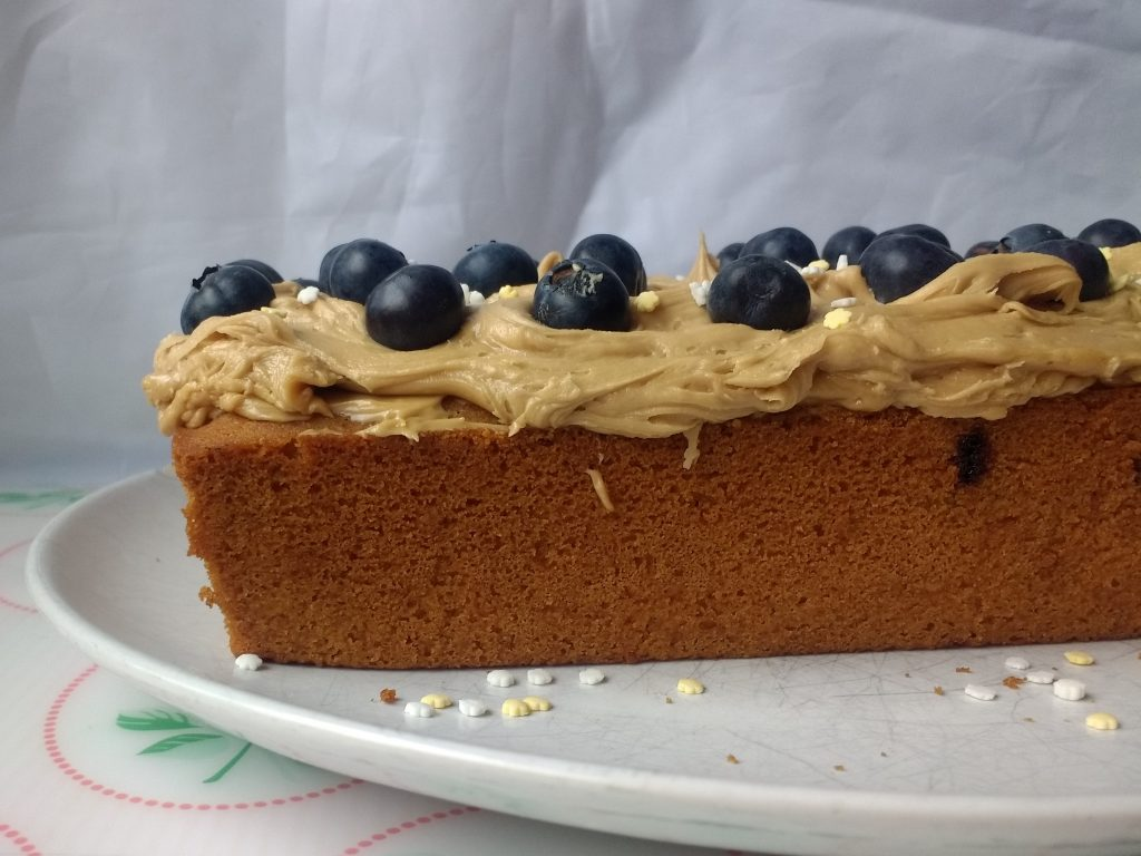 Bring a little freshness to the good old coffee cake favourite with some beautiful blueberries!  This Glutenfree Vegan Coffee & Blueberry Loaf from @PeachicksBakery pairs soft coffee sponge with a hidden swirl of sticky sweet blueberries! Easy #eggfree baking at its best! #Top14free and suitable for #coeliacs & #vegan too!