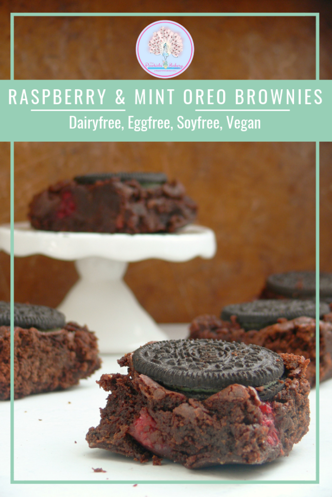 Dark, fudgy Vegan Raspberry & Mint Oreo Brownies are an impressive yet easy traybake option.   Filled with tart raspberries, chunks of chocolate and topped with mint chocolate oreos they're sure to be a potluck hit.    Or serve warm with scoops of your favourite ice cream, squirty dairy free cream & lots of hot chocolate sauce for a great Sunday Sundae!