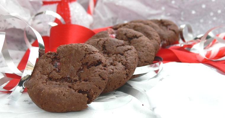 Dark Chocolate Candy Cane Cookies (Gluten free, Vegan)