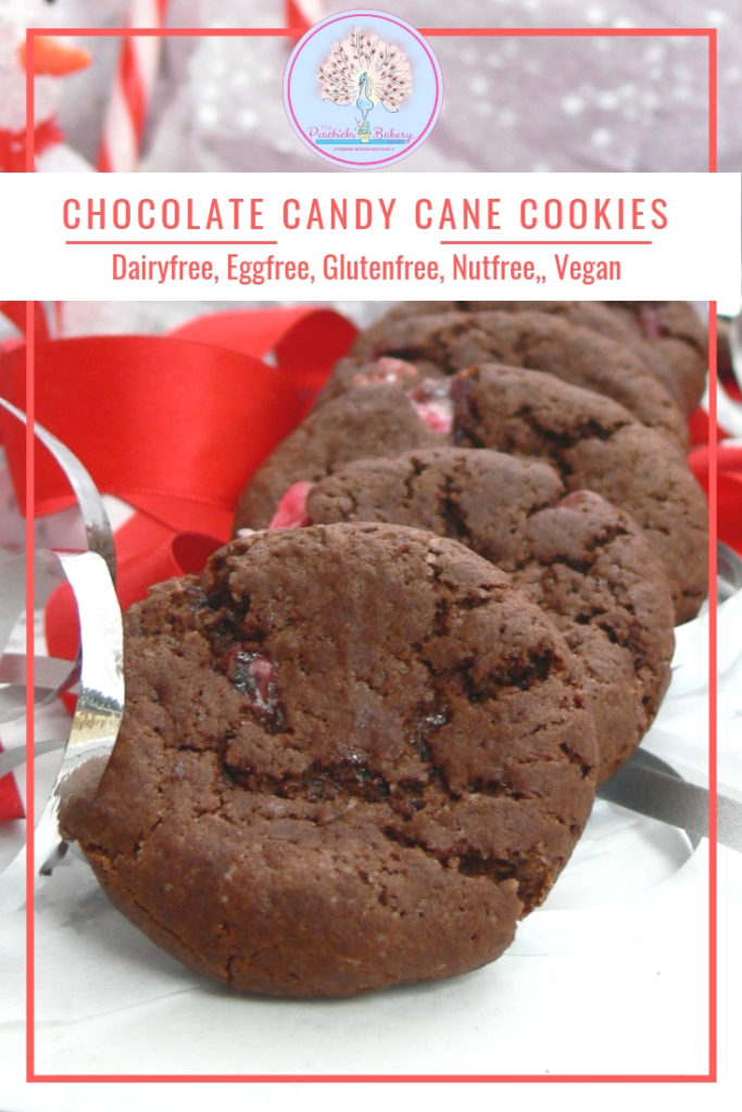 These Vegan Candy Cane Cookies with dark chocolate make great festive treats.  Dairy free, Nut free and the recipe works just as well with gluten free flour.  So simple to make, you can have a batch ready in less than 20minutes! Just add candy eyes, cherry nose & candy cane antlers for cute reindeer cookies, perfect for handing out to the kids teachers and friends!
