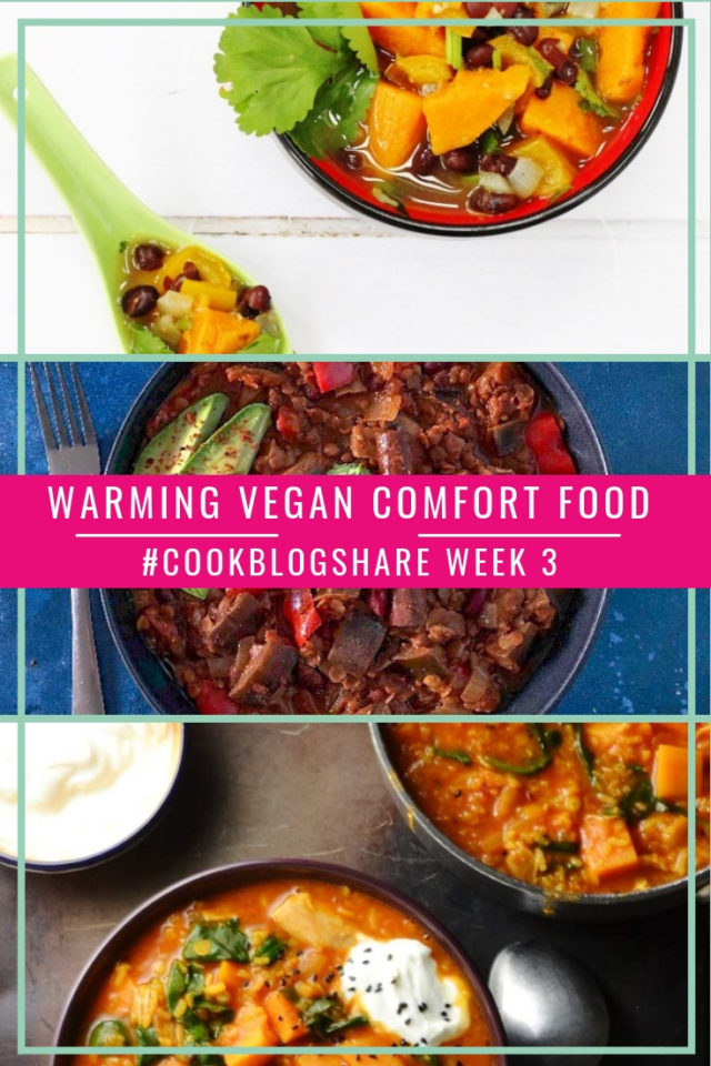 A great collection of Warming Vegan Comfort Food recipes to keep you toasty through the worst of the Winter weather!  Plus check out the #CookBlogShare week 3 linky for more delicious recipes!