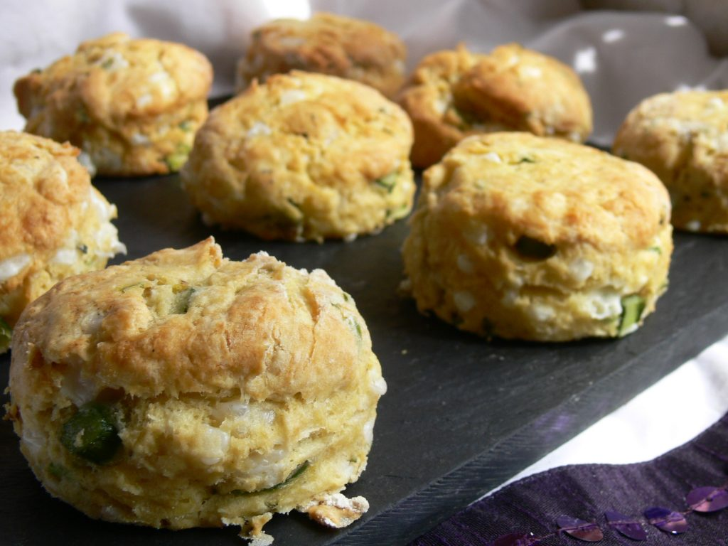 Dairy Free Asparagus & Cheese Scones with their delicate asparagus flavour and pretty little flecks of green chives are a beautiful variation on a vegan cheese scone.  Delicious, fluffy, savoury scones, worthy of any luxury vegan afternoon tea.  Use goats cheese (or dairy free alternative) for a sharper flavour or add finely diced red onion for extra colour!