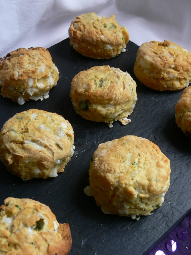 Asparagus & Cheese Scones with their delicate asparagus slices, pockets of melty cheese and pretty little flecks of green chives are a beautiful variation on a cheese scone.  Delicious when made with dairy free cheese; these fluffy, savoury scones are worthy of any luxury vegan afternoon tea.  Also works with cows milk cheese (or goats cheese for a sharper flavour) and finely diced red onion adds a beautiful extra colour!