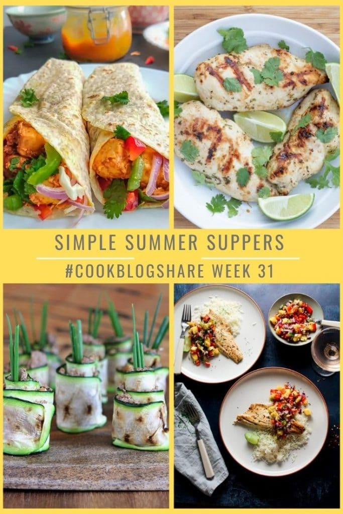 Here's a lovely collection of Simple Summer Suppers perfect for those scorching, sunny days from the #CookBlogShare bloggers! From beautiful grilled marinaded chicken & fish, a rainbow veggie Paneer dish to a stunning use for courgettes in the form of zucchini sushi!