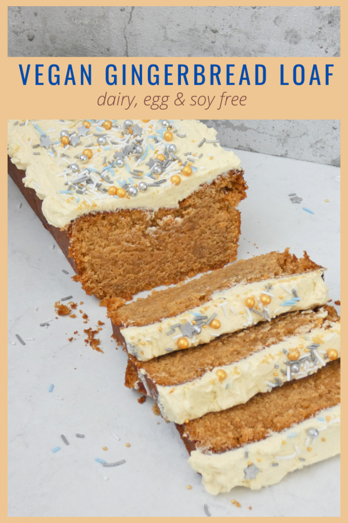 Vegan Gingerbread Cake, all the traditional flavours of the best gingerbread in a soft, sticky sponge. Decorate with a thick layer of ginger buttercream and your choice of sparkly sprinkles. A comforting festive bake perfect for enjoying with a quiet cuppa. Dairy, egg & nut free. Will work with gluten free flour and your choice of dairy alternatives for a Top14 free version.
