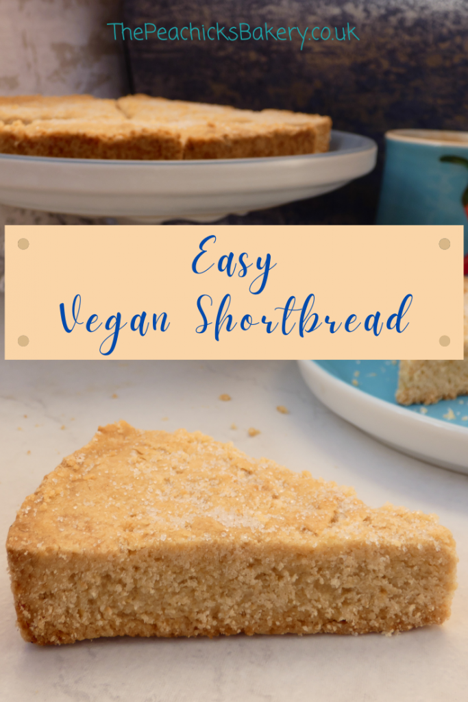 Easy Vegan Shortbread biscuits, the perfect treat to enjoy with a cup of tea.  This rich, buttery shortbread is made with just 3 ingredients and a great first recipe to bake with kids.